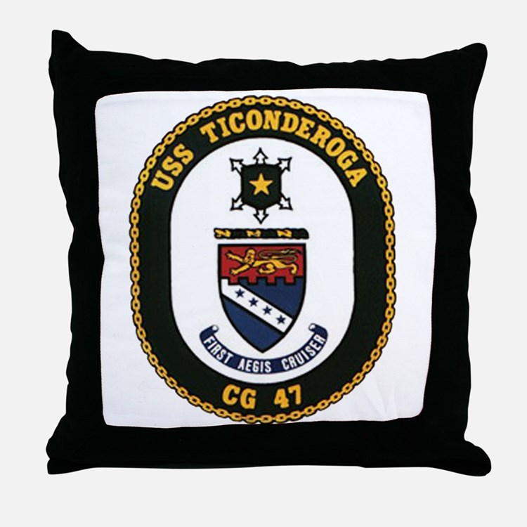USS Ticonderoga CG 47 USS Navy Ship Throw Pillow