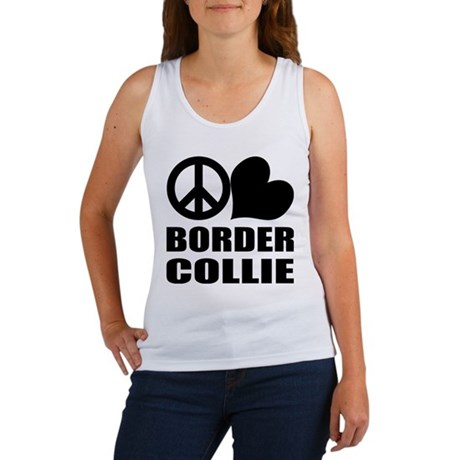 Peace Love Border Collie Women's Tank Top