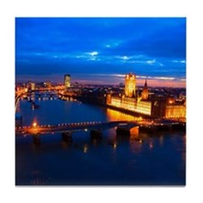 Cityscape of London at Night Tile Coaster