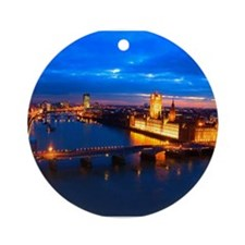 Cityscape of London at Night Ornament (Round)