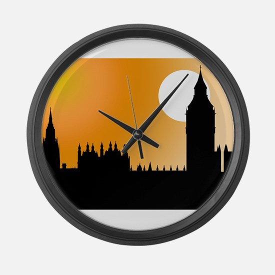 Houses of Parliament Silhouet Large Wall Clock