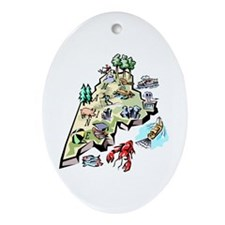 Maine Map Oval Ornament