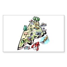 Maine Map Rectangle Decal