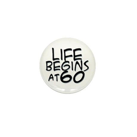 60th birthday life begins black Mini Button