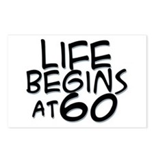 60th birthday life begins black Postcards (Package