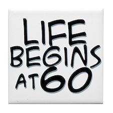 60th birthday life begins black Tile Coaster