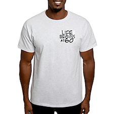 60th birthday life begins black Ash Grey T-Shirt