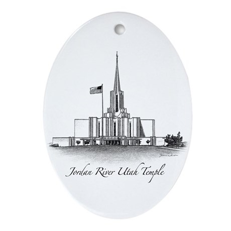 Jordan River Utah Temple Oval Ornament