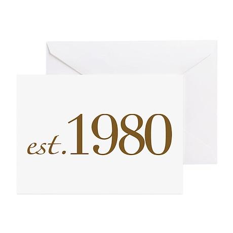 Est. 1980 (Birthday) Greeting Cards (Pk of 10)