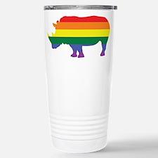 Gay Rhino Rainbow Stainless Steel Travel Mug