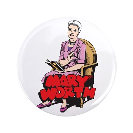 """Mary Reading 3.5"""" Button"""