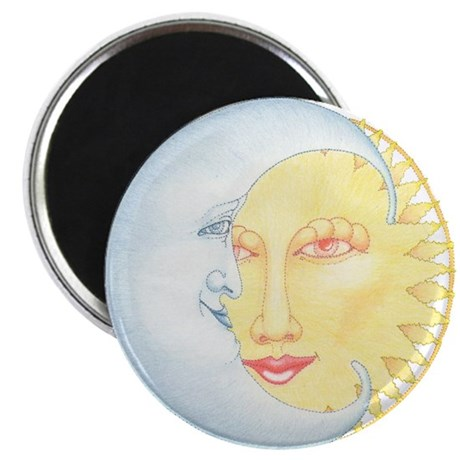 Crescent Moon & Sunshine Faced Magnet