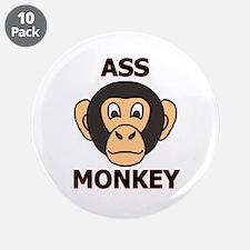 """ASS MONKEY 3.5"""" Button (10 pack)"""