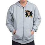 Collie Clown Halloween Zip Hoodie