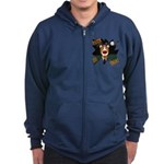 Collie Clown Halloween Zip Hoodie (dark)
