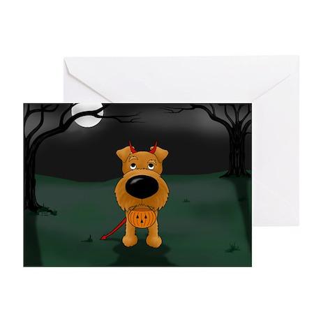 Irish Terrier Devil Halloween Greeting Cards (Pk o