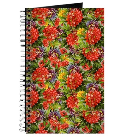Vintage Red Zinnia Floral Journal