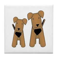 Cute Airedale terrier Tile Coaster