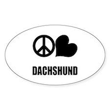Peace Love Dachshund Oval Decal