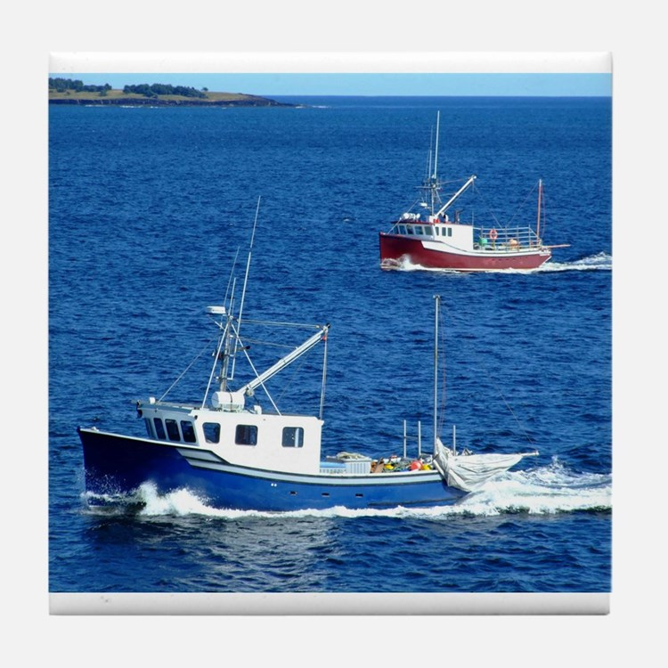 Two fishing boats Tile Coaster