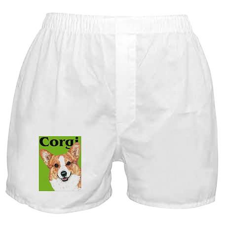 Green Pop Pembroke Welsh Corgi Boxer Shorts