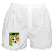 Green Pop Pembroke Welsh Corgi Boxer Shorts