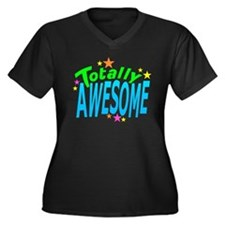 Totally AWESOME Women's Plus Size V-Neck Dark T-Sh