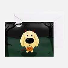 Yellow Lab Devil Halloween Greeting Card