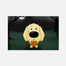 Yellow Lab Devil Halloween Rectangle Magnet