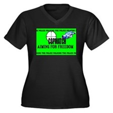 COP WATCH Women's Plus Size V-Neck Dark T-Shirt