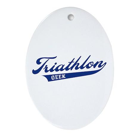Triathlon Geek Oval Ornament