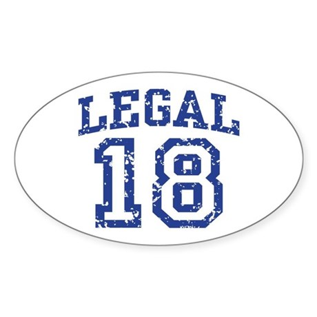 Legal 18 Oval Sticker