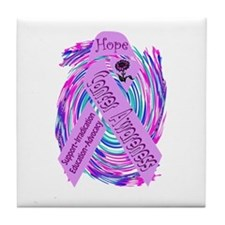 Cancer Awareness and Support Tile Coaster