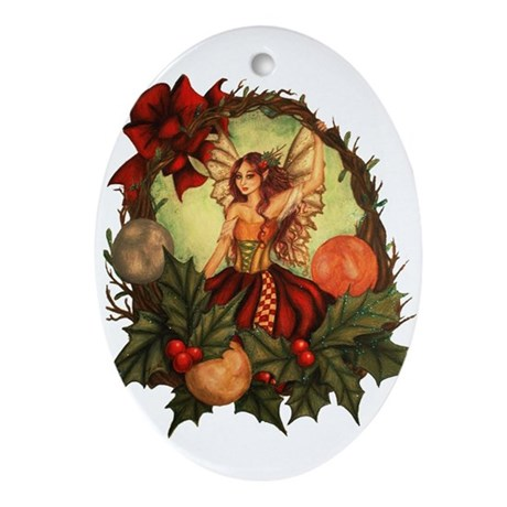Christmas Wreath Fairy Oval Ornament