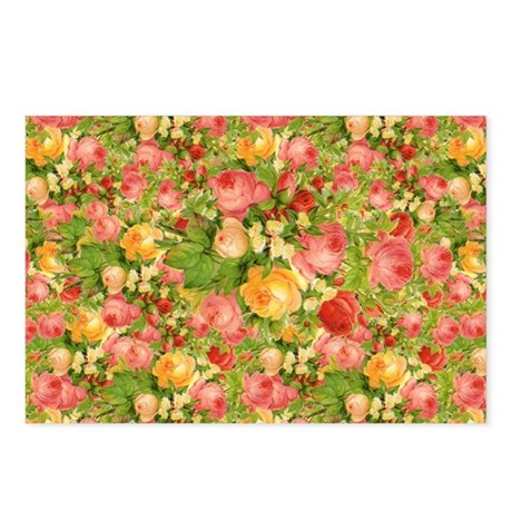 Pink and Peach Roses Postcards (Package of 8)