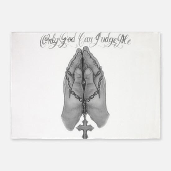 """Only God Can Judge Me"" Prayer Hands 5'x7'Area Rug"