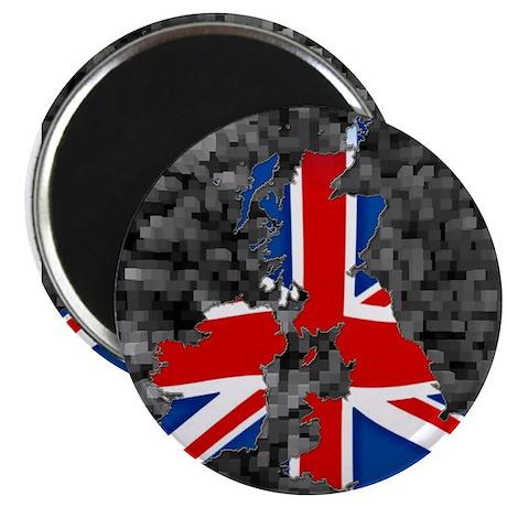 Union Jack Map of UK (black) Magnet