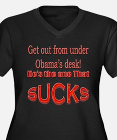 Funny Obama Sucks Women's Plus Size V-Neck Dark T-