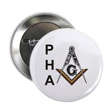 """Prince Hall Square and Compass 2.25"""" Button"""