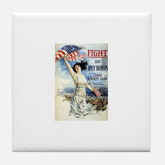 Vintage WWII Poster Tile Coaster