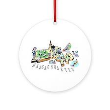 Massachusetts Map Ornament (Round)