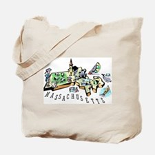 Massachusetts Map Tote Bag