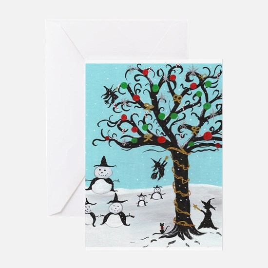 Holiday Witch Snowman Greeting Card