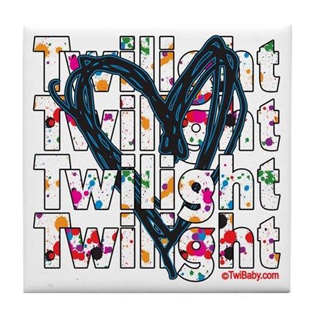 Twilight Heart Splatters Tile Coaster