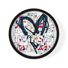 Twilight Heart Splatters Wall Clock