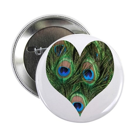 """Peacock Heart 2.25"""" Button (10 pack)"""