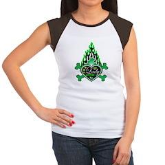 Green Flame Heart Women's Cap Sleeve T-Shirt