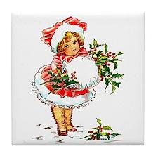 Vintage Christmas Girl Tile Coaster