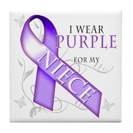 I Wear Purple for My Niece Tile Coaster