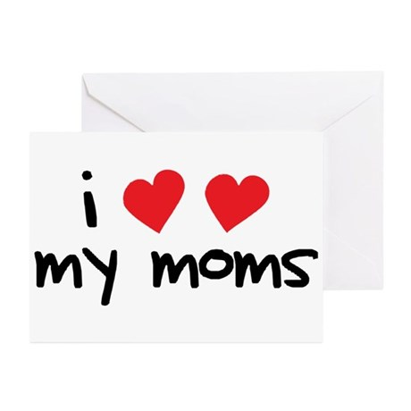 I Love My Moms Greeting Cards (Pk of 20)